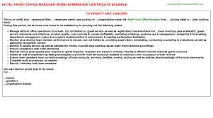 Front Desk Manager Hotel Hotel Front Office Manager Work Experience Certificate
