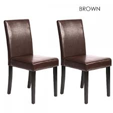 Leather Dining Chair Set Of 2 Contemporary Leather Dining Chairs U2013 Choose Black Or