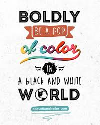 quote about color u201cboldly be a pop of color in a black and white
