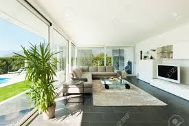 modern villa interior beautiful living room stock photo picture