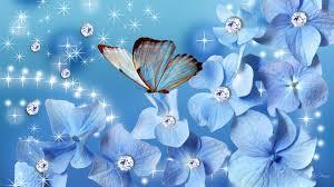 glitter wallpaper with butterflies flower blues blue flowers butterfly stars sparkles glitter persona