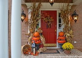 Halloween And Fall Decorations - pumpkin topiaries for an autumn front porch