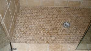 shower rock looking floor tile glass tile river stone and