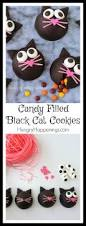 halloween treat candy filled black cat cookies