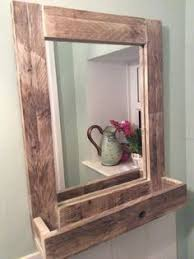 Bathroom Mirror With Shelf by Rustic Wood Mirror Pallet Furniture Rustic Home Decor Reclaimed