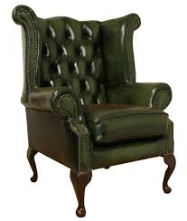 Leather Sofa And Armchair Chesterfield Armchair Queen Anne High Back Fireside Wing Chair