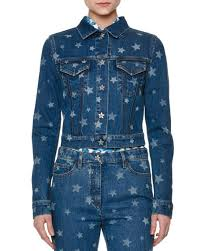 light blue cropped jean jacket valentino laser star print cropped jean jacket light blue denim