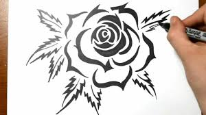 how to draw a tribal rose tattoo design youtube