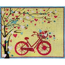 peterson needlepoint bicycle and tree