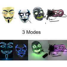 el wire light up led mask 3 modes neon rave mask costume cosplay