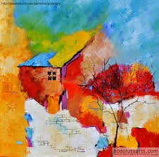 Painting Of House by Pol Ledent Artwork Abstract House And Tree Original Painting
