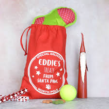 personalised dog christmas gift bag by pink and turquoise