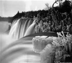 frozen niagara falls black white pretty