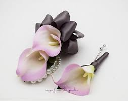 corsages and boutonnieres for prom real touch lavender grey calla boutonniere corsage prom