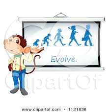 cartoon of a teacher monkey presenting an evolution sketch
