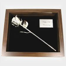 silver roses 11 sterling silver in walnut shadow box is a
