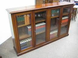 Wide Bookcase With Doors Mahogany 4 Door Low Bookcase 217376 Sellingantiques
