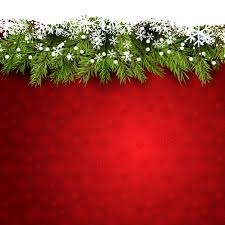 red background with snowflakes and pine branches vector free
