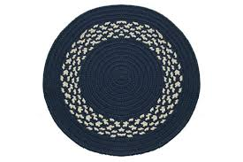 Round Blue Rugs Navy Navy U0026 Cream Band Braided Rug