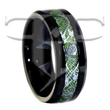 celtic dragon ring black tungsten green celtic dragon ring