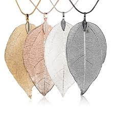 real leaf necklace images Jetloter 4 pack women 39 s real natural filigree leaf jpg