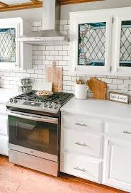 white leaded glass kitchen cabinets before and after kitchen 1980s drab to farmhouse fab