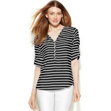 calvin klein blouses lyst calvin klein rolltabsleeve striped blouse in black