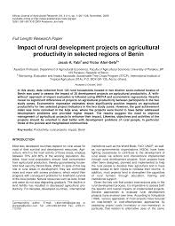 impact of rural development projects on agricultural productivity