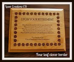 retirement plaque retirement plaque 8 x 10 4leaf clover border