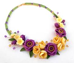 handmade statement necklace images Polymer clay flower jewelry fimo necklace wedding necklace jpg