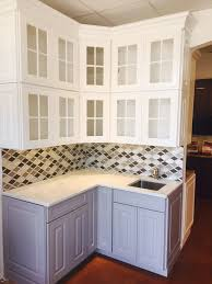 Greenfield Kitchen Cabinets by Waypoint Maple Linen Wall Cabinets With Painted Stone Base