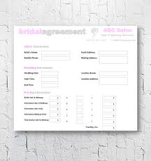 hair stylist makeup artist bridal agreement contract template editable printable word doent 8 5
