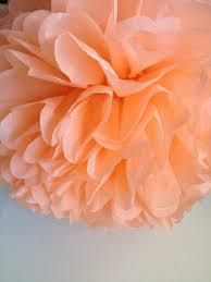 1 peach tissue paper pom pom paper pom pom wedding pom nursery