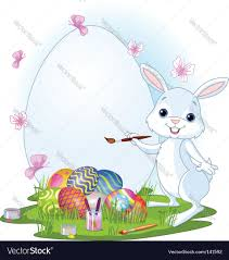 easter bunny painting easter eggs royalty free vector image