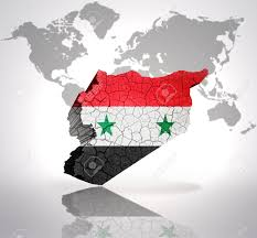 World Map Syria by Map Of Syria With Syrian Flag On A World Map Background Stock
