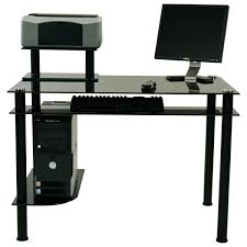Glass Top Computer Desks by Small Black Metal Computer Desk With Glass Top And Printer Stand