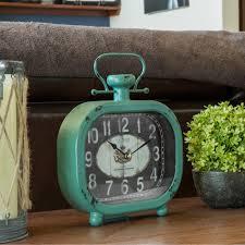 la crosse technology distressed teal metal decorative clock 404