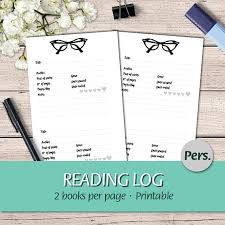 personal en book review reading journal reading log book