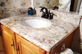 Elegant Bathroom With Vanity Featured Undemount Round Sink And - Elegant bathroom granite vanity tops household