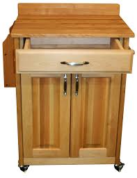 catskill craftsmen butcher block cart with backsplash and raised