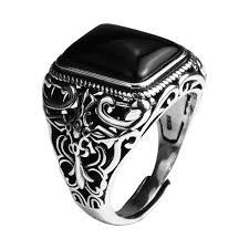 aliexpress buy mens rings black precious stones real aliexpress buy real 925 sterling silver vintage rings for