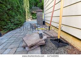 stone pavers tiles side yard patio stock photo 447440287