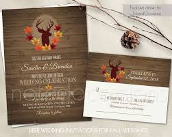 fall wedding invitations deer wedding invitation set rustic fall wedding invitations