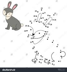connect dots draw cute rabbit color stock vector 377746498