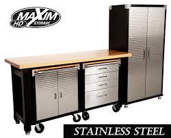 stainless steel workbench cabinets maxim hd 4 piece standard garage storage system timber workbench