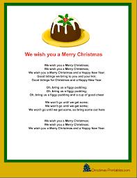 we wish you a merry carol printable free
