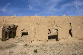desert village in iran near yazd with adobe houses stock photo