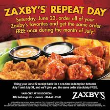 zaxby s zaxby s tomorrow sat june 22 is repeat day order facebook