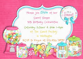 candy sweet shoppe birthday invitation printable choose your