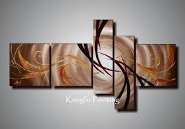 Hand Painted Unframed Abstract 5 Panel Canvas Art Living Room